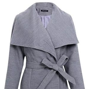 Wool Blend Turn Down Collar Coat Outwear Belt Gray